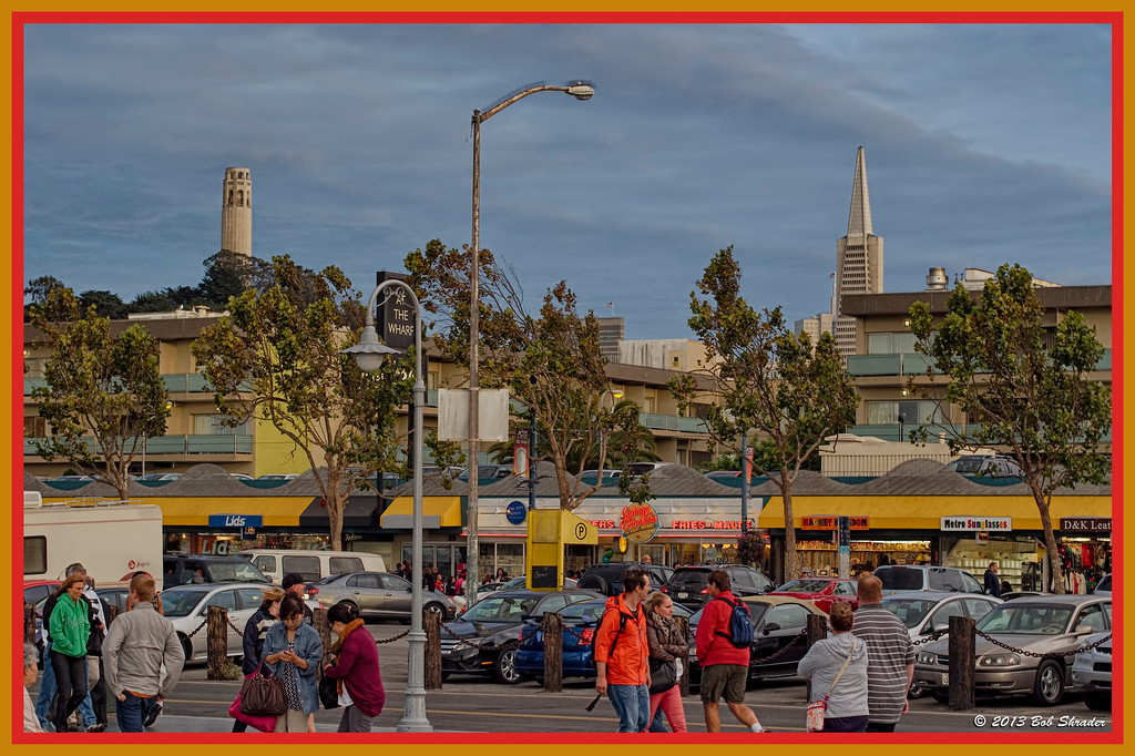 With Coit Tower and the Transamerica Pyramid in the background.